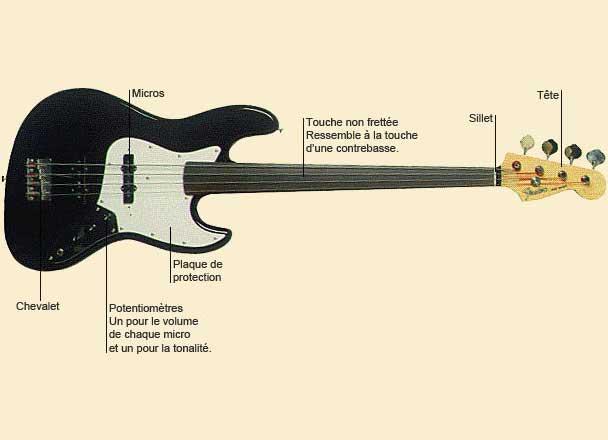 photo de Guitare basse sans frette ou fretless